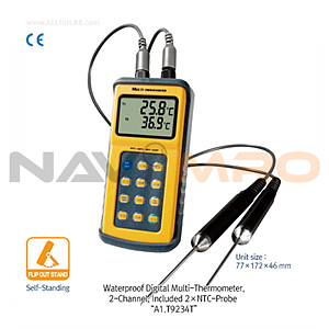 방수 휴대용 2채널 디지털 온도계 (Waterproof Digital 2-Channel Thermocouple Thermometer)