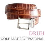 프로페셔날 골프벨트 (Crocodile dark brown belt with prong belt) 드루