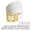 박성현 골프벨트 (Crocodile white belt with thru gold buckle) 드루