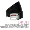 박성현 골프벨트 (Crocodile black belt with classic stripe buckle) 드루